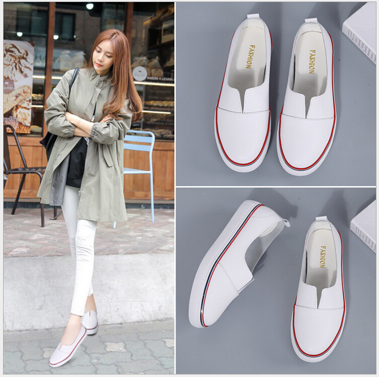 Spring Autumn New fashion women shoes Genuine Leather boat shoes female flat lazy non-slip casual shoes
