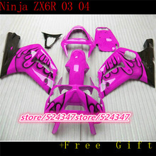 Market hot sales manufacturers ZX6R 03 04 ZX - 6 r 636 03-04 ZX 6 2003 2004 r r smooth pink motorcycle fairing ink black flames(China)
