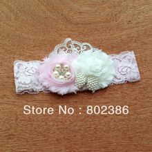 Free shipping 10pcs per lot pink and white Shabby Chic flower head bands with pear bow(China)