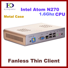 2016 New Fanless Thin Client PC, Mini Computer with Intel Atom N270 1.60Ghz, 1GB RAM, 16GB SSD 32 Bit, 720P HD,6 USB