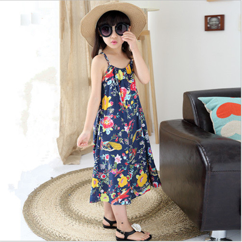 2017 New Girls Long Dress Summer Korean Beach Floral Mid-Calf Children Casual O-neck Sleeveless Clothing For 6-15Y Kids Hot Sale<br><br>Aliexpress
