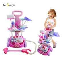 MrPomelo Operated Toy Girls Play House Toys Simulation Children Cleaning Trolley with Vacuum Cleaner Tool Hygiene Doll Furniture