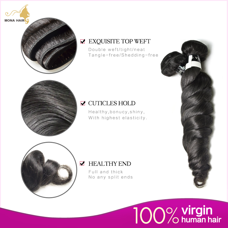 Indian Hair 7A Virgin Indian Hair Loose Wave 1 bundle 100G unprocessed full thick end indian hair weave bundles 12-24<br><br>Aliexpress