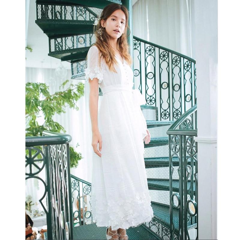 crochet flower shirt lace maxi white dress v neck front buttons tie belt a line princess party elegant dress summer beach dress