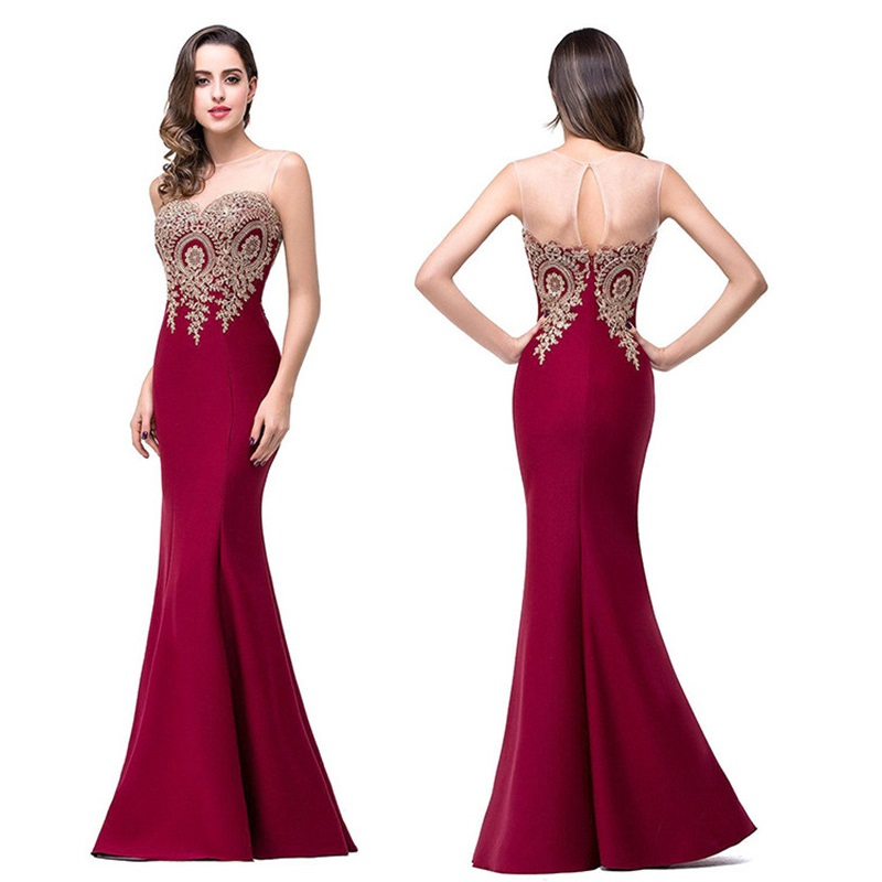 Sexy Backless Appliques Burgundy Mermaid Lace Long Dresses 2018 Royal Blue Black Evening Party Dress Vestido de Festa Longo