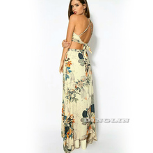 GZDL Fashion Women Elegant Beach Casual Party Two Pieces Suit Style Backless Spaghetti Strap Crop Top Floral Long Skirt CL2762