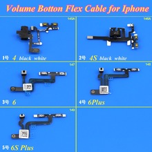 1Piece Replacement Parts For Apple iPhone 4 4S 6 6Plus 6S Plus Jack Audio Volume Mute Silent Switch Button Key Flex Cable(China)