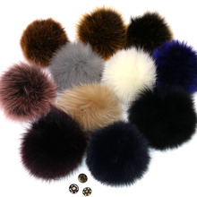 Real Fox Fur Pompom Fur Pom Poms Ball for Hats & Caps Big Natural Fur Pompon Ball For Shoes Hats Bags Accessories Genuine Fur
