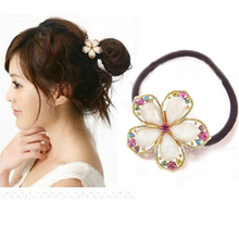 2017 Fashion Elegant Rhinestone Flower Elastic Hair Accessories Rubber Band For Women Jewelry 1A038