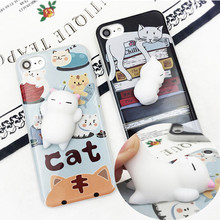 2017 Hot Sale Animal Squishy Phone Case Can Squeeze Press Anti-stressCut Painting Silica mobile phone shell For iPhone Funny Toy