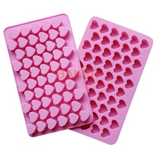 cake decorating tools DIY silicone mold 55 lattices heart chocolate mold ice cube biscuit candy mold SICM-215-7(China)