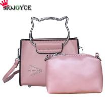 2pcs/Set Cat Messenger Bag Women PU Leather Handbags Shoulder Crossbody Bag Clutch Purse Composite Bag Cute Cartoon Handle Bag(China)