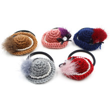 Elastic hair band hat with prush ball  fashion headwear apparel hair accessories mg0403