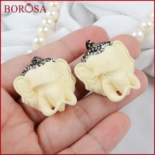 Buy BOROSA White Stone Carved Elephant Head Pendant Bead Paved Zircon JAB326 for $36.00 in AliExpress store