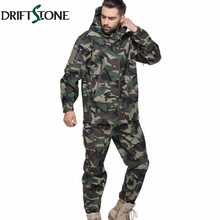 Men Tactical Jungle Camouflage Jacket Set Coat Shark Skin Softshell Jacket Waterproof Hoody Camo Military Army Clothes Suit(China)