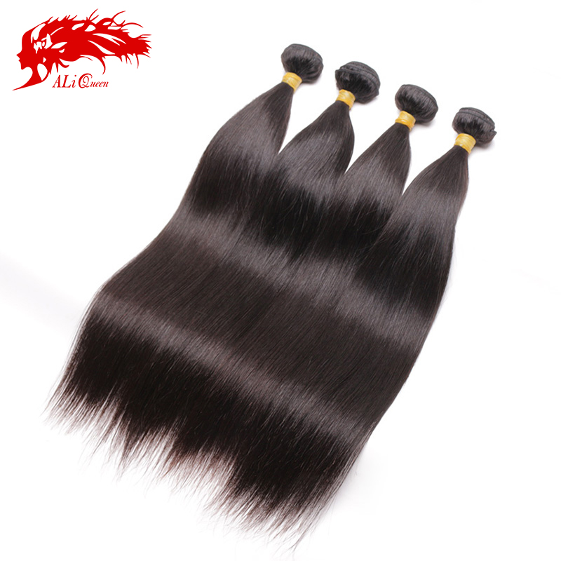 6A Natural Black Brazilian Virgin Hair Straight 4pcs Weave Bundles With Free Shipping, Ali Queen Hair Brazilian Straight Hair<br><br>Aliexpress