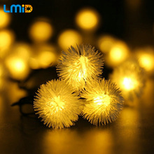 LMID Solar Lamps Fairy Snowball Snowflake Garland String Light Waterproof Outdoor Decoration Christmas Garden Solar Lamp(China)