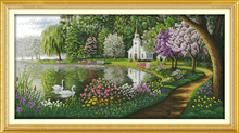 Hand Made Innovation items Big Size Needlework Kit DIY Home Decor Counted Cross-Stitch Embroidery Set Green lake reflected color(China)