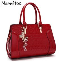 Buy Women leather handles Handbags Crocodile Pattern Leather Shoulder Bag Brand Designer Ladies Red Wedding Tote Bags bolsa feminina for $24.41 in AliExpress store