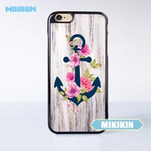 MIKIKIN Navy Blue Anchor x Flowers x Wood Design Cell Phone Protective Case For For iPhone7 7 Plus 6 6S Plus SE 5 5S 5C 4 4S(China)