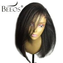 BEEOS Yaki Straight Wig Short Human Hair Bob Lace Front Wigs Black Women Brazilian Remy Lace Wigs Pre Plucked Bleacked Knots(China)