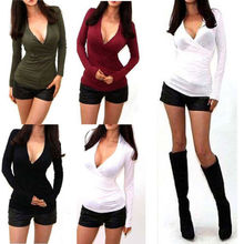 NEW SEXY WRAP V-NECK PLUNGE DRAPE LOW CUT LONG SLEEVE STRETCH SHIRT BLOUSE TOPS new style Fashion Hot