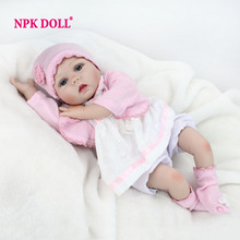"NPKDOLL 22"" 55 cm Lifelike Doll Reborn Realistic Soft Silicone Vinyl Reborn Baby Dolls For Girls Kids Gifts Russia Delivery(China)"