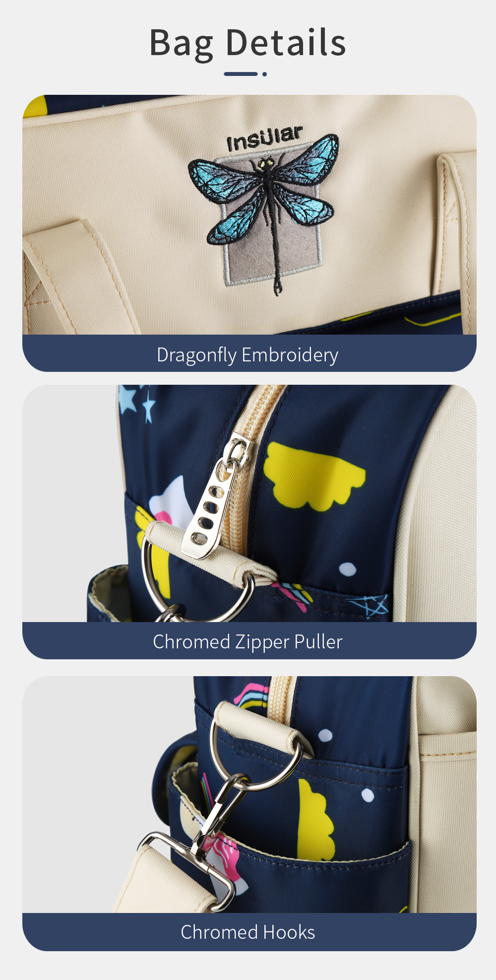 Waterproof Multifunctional Diaper Bag  14