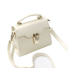 2017 Fashion Solid Women Messenger Bag Simple Casual Lock Mini Handbag Black Beige Blue and White colors Big and Small style