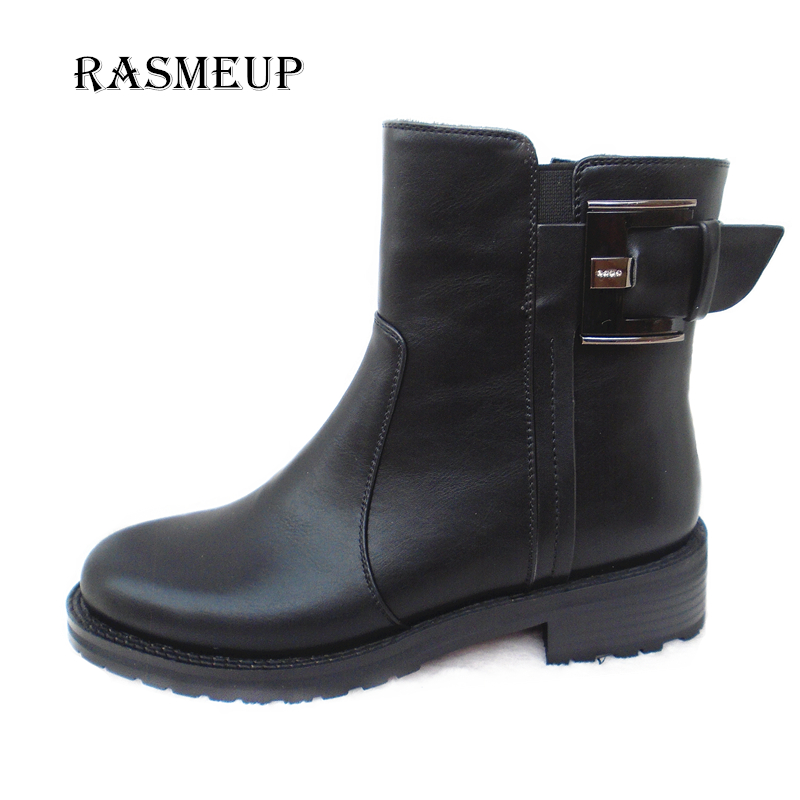 RASMEUP Women Leather Ankle Boots Autumn Winter Woman Martin Boots Buckle Square Heel Motorcycle Boots Buckle Zipper Shoes<br>
