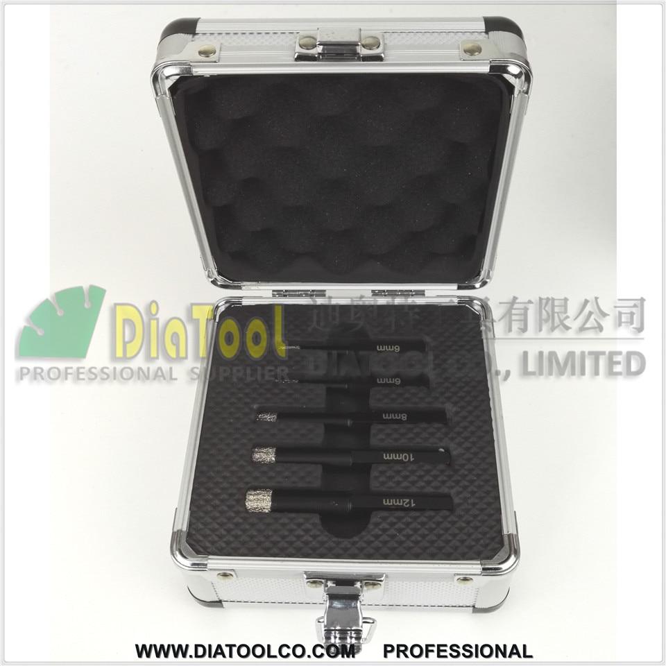 DRILL BITS SET (5pcs)  Vacuum brazed diamond core bits with hexagon shank, dry drilling bits, professional quality<br><br>Aliexpress