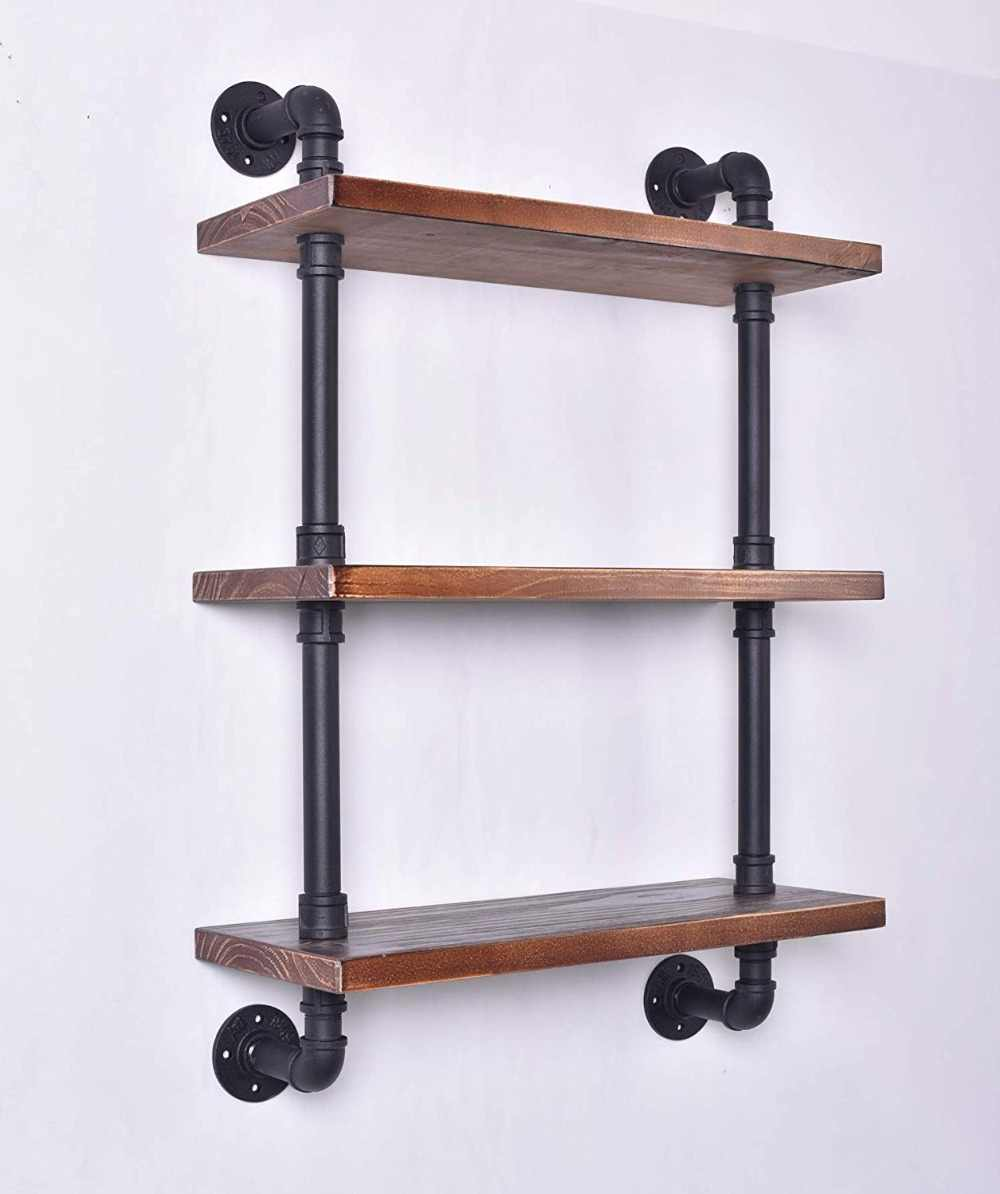 Industrial Pipe Shelving Bookshelf Rustic Modern Wood Ladder