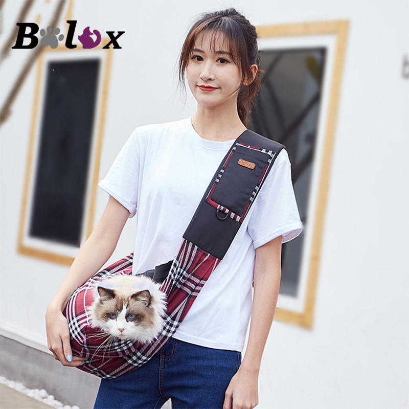 Cat Carrier Outdoor Travel Sling Bag for Cats Portable Shoulder Pet Bag Nylon Plaid Pet Carrier for Chihuahua Puppy Kitten