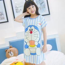 Girls Nightgown Cartoon Girls Sleepwear Short Sleeve Children Nightgown Kids Night Dresses Girls Pajamas Dress
