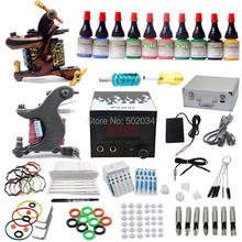 USA Dispatch Complete Starter Tattoo Kits 2 Machine Guns 10 Inks Colors LCD Power Grips Tip Needles Equipment Sets Supplies