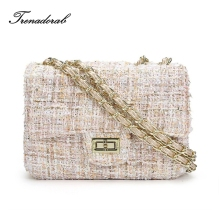 Trenadorab Women Bags Woolen Brand Luxury Handbag Designer Flap Crossbody Bag Women Shoulder Bag Purse Clutch Messenger Bags(China)
