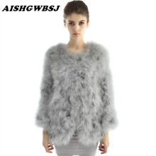AISHGWBSJ Genuine Knitted Fire Chicken Feather Fur Coat Jacket Winter Women Long Sleeve Covered Button Long Outwear Coat LJ3159(China)