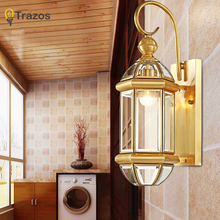 Hot sale vintage copper Wall Lights antique Garden light indoor & outdoor lighting bedroom retro copper wall lamp sconce(China)