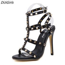 2017 Summer Sandals Gladiator High Heels Women Retro ankle Strapy Rivet Stilettos Pumps Celebrity Shoes Woman Ankle Cool boots 9(China)