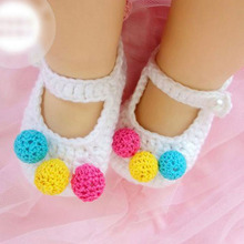 Crochet Baby Booties Knitted Shoes Handmade Little Girl Slippers Flower Newborn First Walkers Shoe 10pairs XZ027