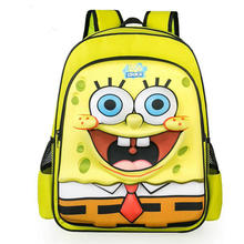 New arrival cartoon spongebob pattern backpacks for kids casual double shoulder travel bag cool movie characters bookbag mochila(China)