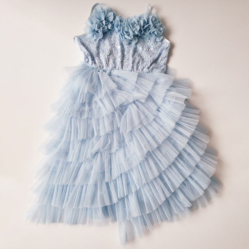 Elegant Flower Girls Dress For Wedding Party Sequins Sleeveless Princess Tutu Dresses For Girl Evening Dress Kids Dress Vestidos