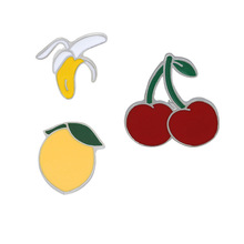 Selling jewelry cartoon suit cherry pear banana series of metal brooch speed to buy through the wholesale manufacturers wholesal