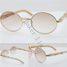 7919c8062b Gold Frame Sunglasses Metal Unisex Sunglasses 18k Gold Genuine Buffalo Horn Vintage  luxury brand Sun Glasses 7550178 Size 57 Hot