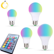 E27 LED RGB Bulb lamp AC110V 220V 3 5 7 9W bedroom Spot light dimmable magic Holiday RGB lighting+IR Remote Control 16 colors