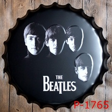 The Beatles 40cm Round Antique Imitation Beer Bottle Cap Metal AD Sign Vintage Band Pattern Tin Signs Bar Garage Wall Decor AJAX
