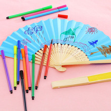 Wholesale Free Shipping Plain DIY Multi-Colors Bamboo Paper Fan Colorful Paper Folding Fan Elegant Home Decor Party Favor