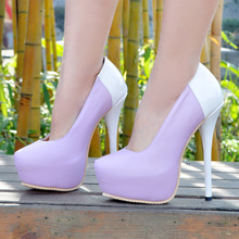 Lilac Pu Women Pumps Round Toe Slip-On Ladies Party Shoes Summer High Heels Platform Size 12