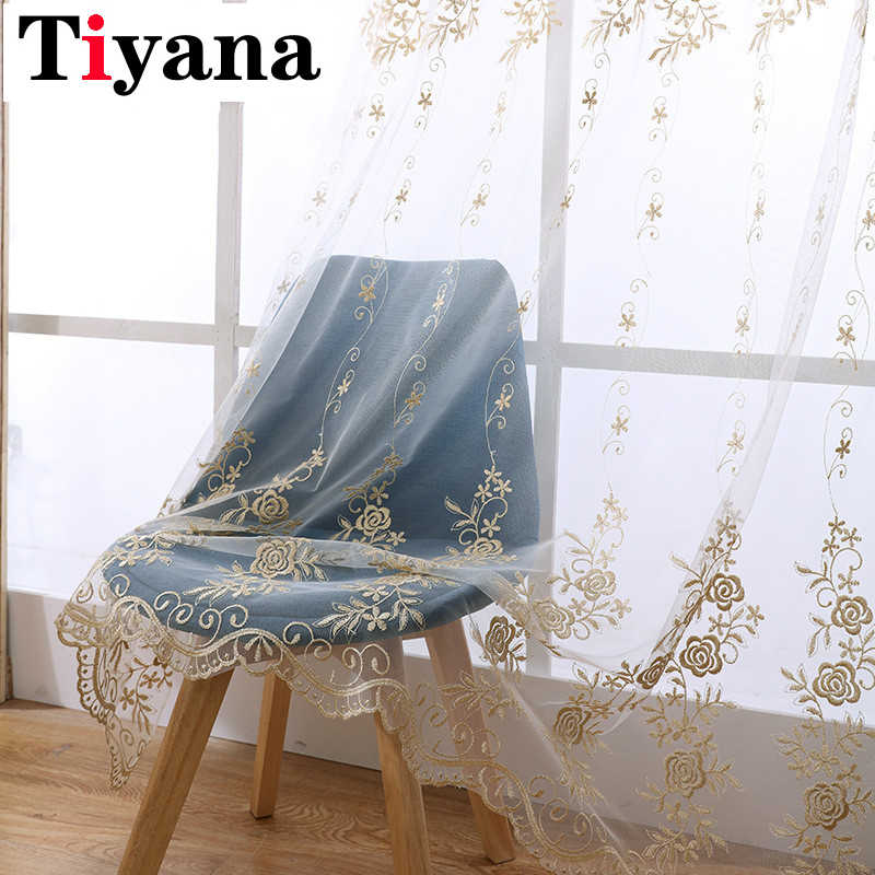 Tiyana Europe Gold Luxury Sheer Curtains Kitchen Beige Tulle Window Drapes Rose Embroidery Living Room Bedroom Decor HP004D3
