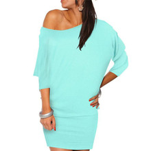 Sexy fashion ladies dress Happy Women's day Womens Long Sleeve Off Shoulder Mini Batwing Tunic Dress M 8